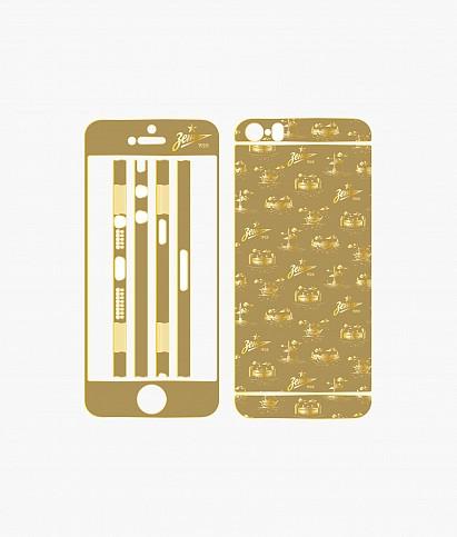 Золотая наклейка на Iphone 5S «Город»