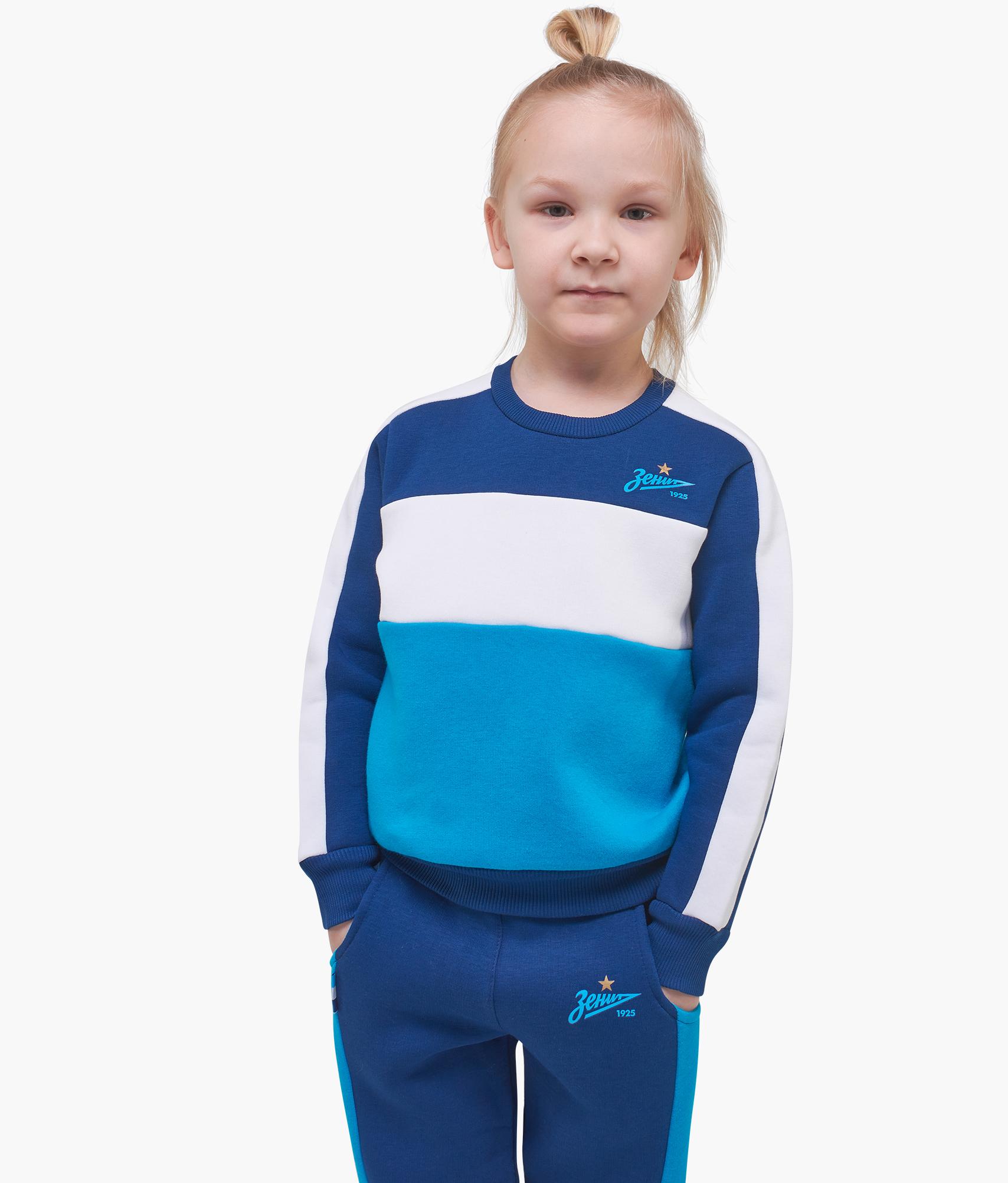 Свитшот детский Триколор Зенит Цвет-Сине-Бело-Лазурный
